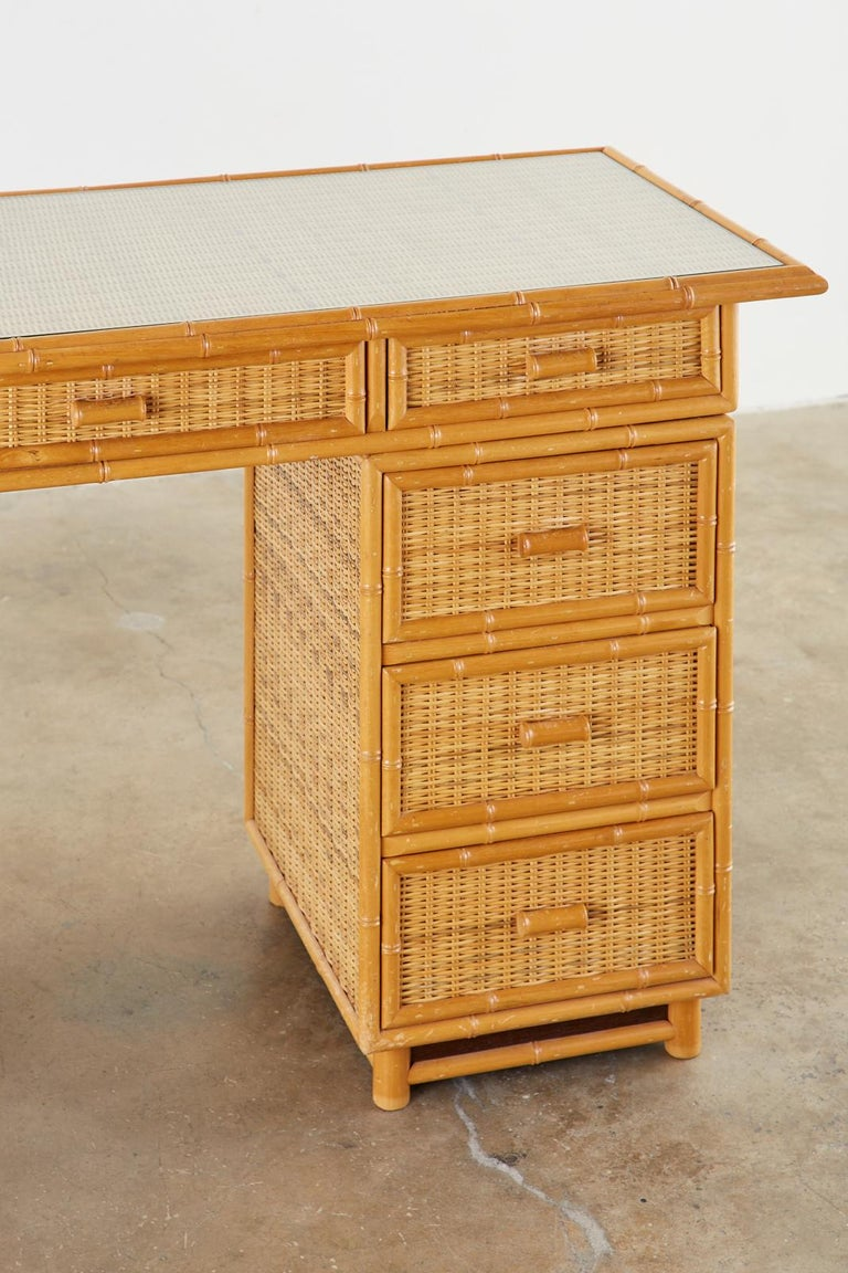 Italian Faux Bamboo Rattan Pedestal Writing Table or Desk For Sale 1