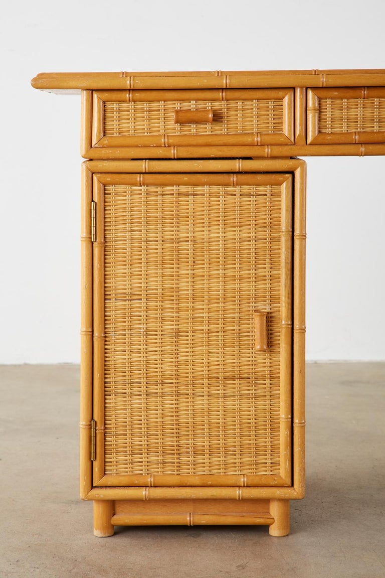 Italian Faux Bamboo Rattan Pedestal Writing Table or Desk For Sale 2