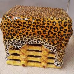 Italian Faux Bamboo Terra Cotta Leopard Print Garden Seat