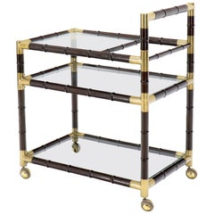 Italian Faux Bamboo Three-Tier Glass Shelves Rolling Serving Cart Bar
