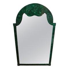 Italian Faux Malachite Lacquered Mirror, circa 1960