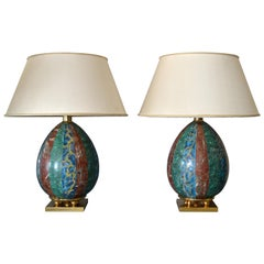 Italian Faux Marble and Brass Table Lamps from Florence, Pair
