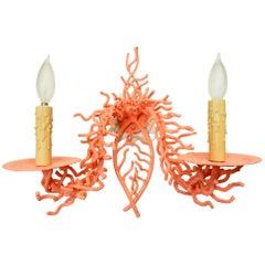 Italian Faux Sea Coral Sculpture Wall Lamp Sconce, circa 1960s