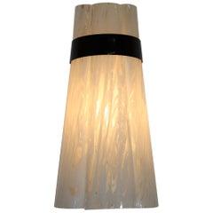 "Italian Federica Marangoni Wall Lamp Murano Glass Transparent ""Variegato"" White"