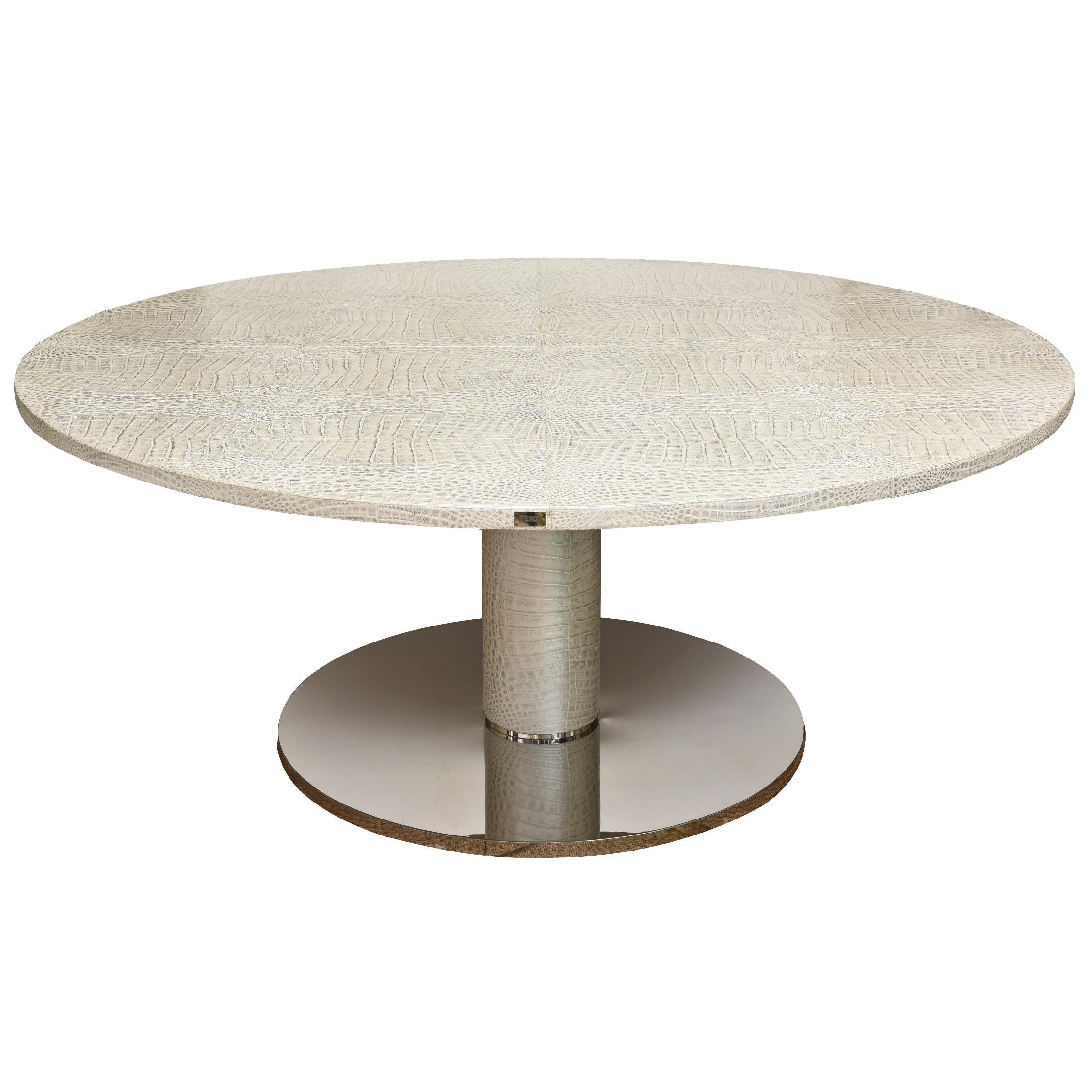 Italian Fendi Round Crocodile Metallic Leather And Stainless Steel Dining  Table