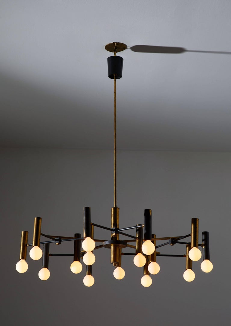 Mid-Century Modern Fifteen-Arm Chandelier by Oscar Torlasco For Sale