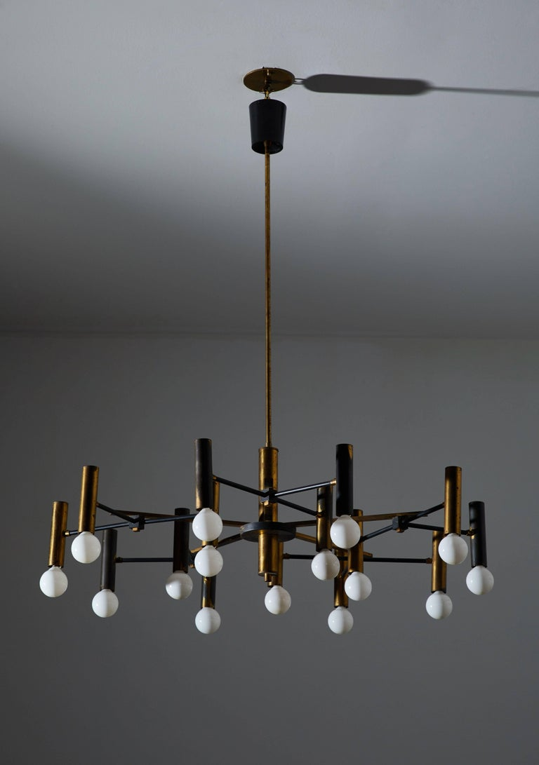 Italian Fifteen-Arm Chandelier by Oscar Torlasco For Sale