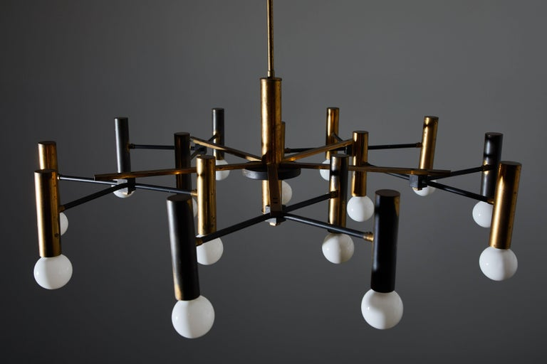 Fifteen-Arm Chandelier by Oscar Torlasco For Sale 1