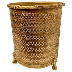 Italian Filagree Brass Waste Bin with Liner