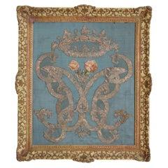 Italian, Firenze, Framed Silk Embroidery Panel from Villa Montalto, ca. 1750