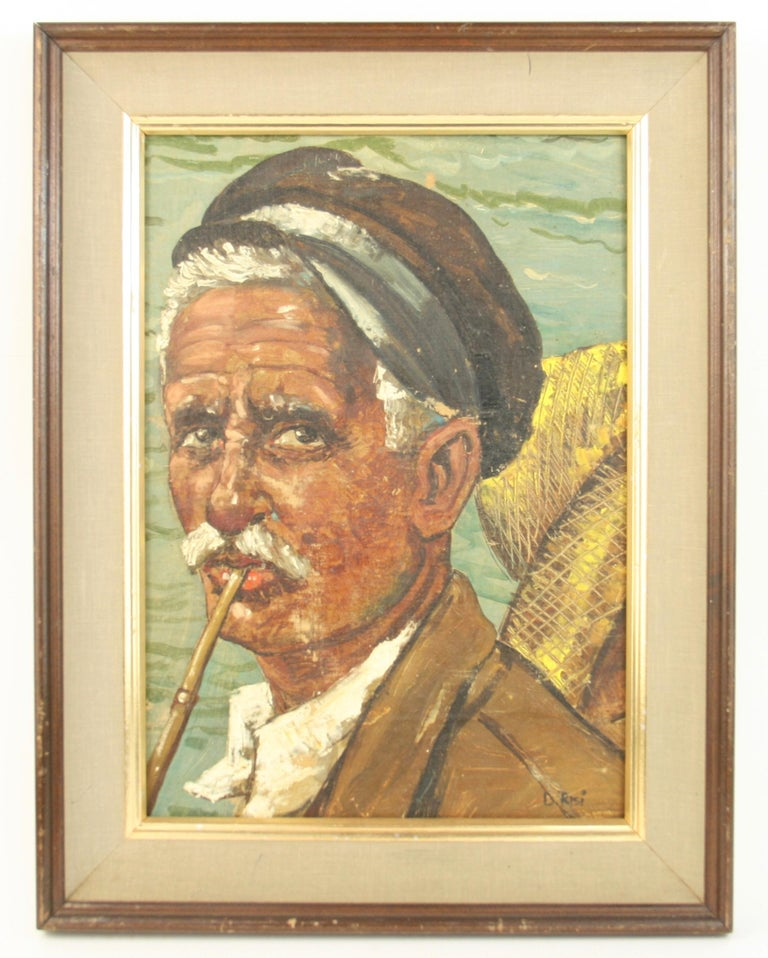 Italian Fisherman Painting In Good Condition For Sale In Douglas Manor, NY