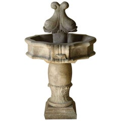 Italian Fishes Renaissance Style Fountain Handcrafted Limestone Antique Patina