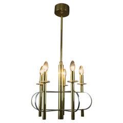 Italian Five-Light Brass and Glass Chandelier by Gaetano Sciolari, 1970s