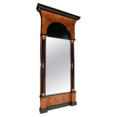 Italian Flame Mahogany & Ebonized Gilt Wall Mirror with Original Glass, C. 1810
