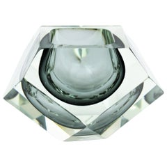 Italian Flavio Poli Smoked Grey & Clear Faceted Sommerso Murano Glass Giant Bowl