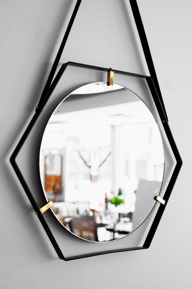 Mid-20th Century Italian Floating Hexagon Mirror For Sale