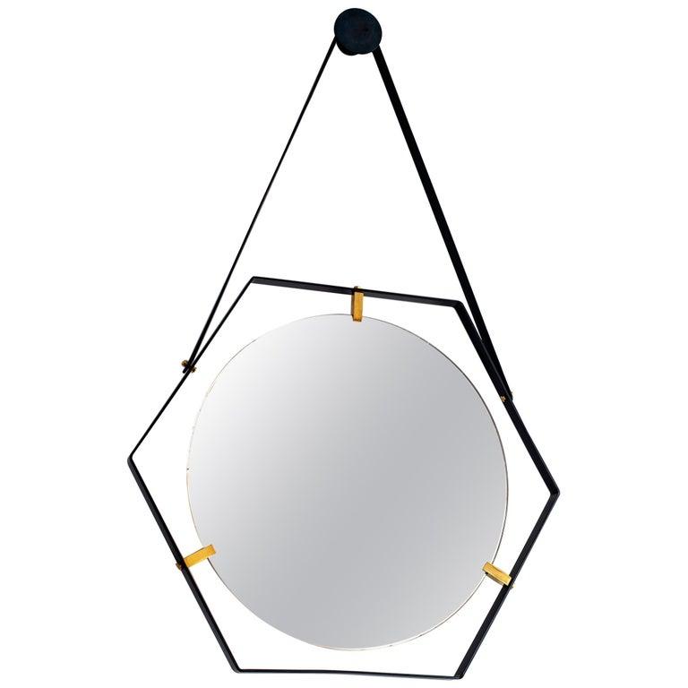 Italian Floating Hexagon Mirror For Sale