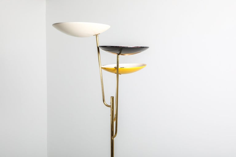 20th Century Italian Floor Lamp 1950s Style with a White, Yellow and Black Shade For Sale