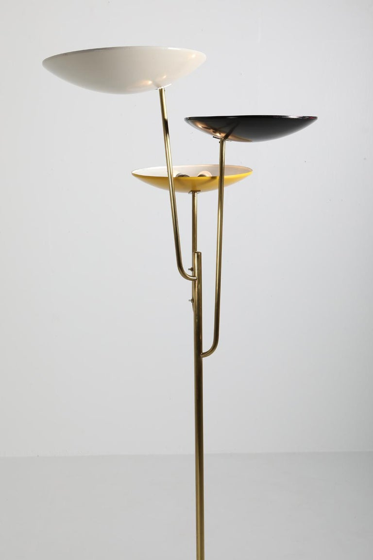 Brass Italian Floor Lamp 1950s Style with a White, Yellow and Black Shade For Sale