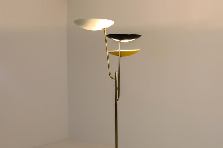 Italian Floor Lamp 1950s Style with a White, Yellow and Black Shade For Sale 1