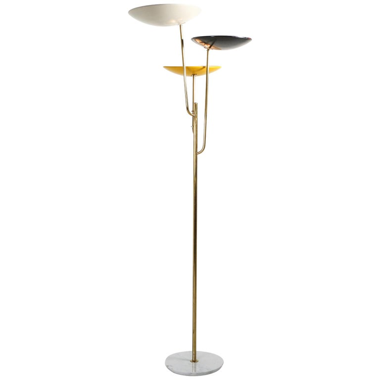 Italian Floor Lamp 1950s Style with a White, Yellow and Black Shade For Sale