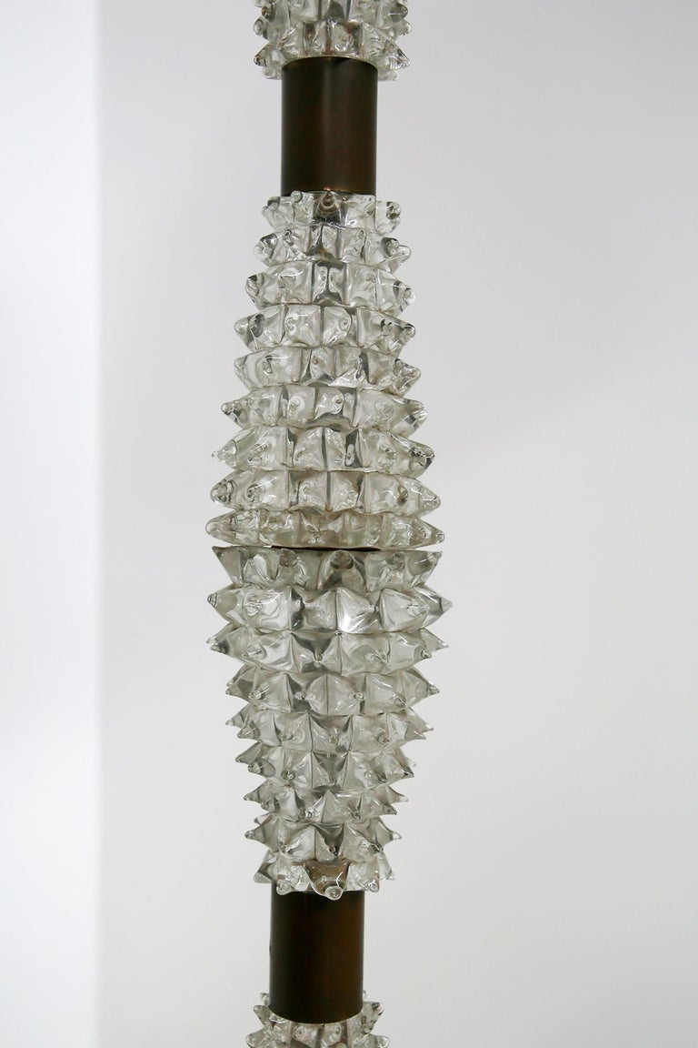 Mid-20th Century Italian Floor Lamp by Barovier & Toso in Rostrato Glass and Brass, 1940s For Sale