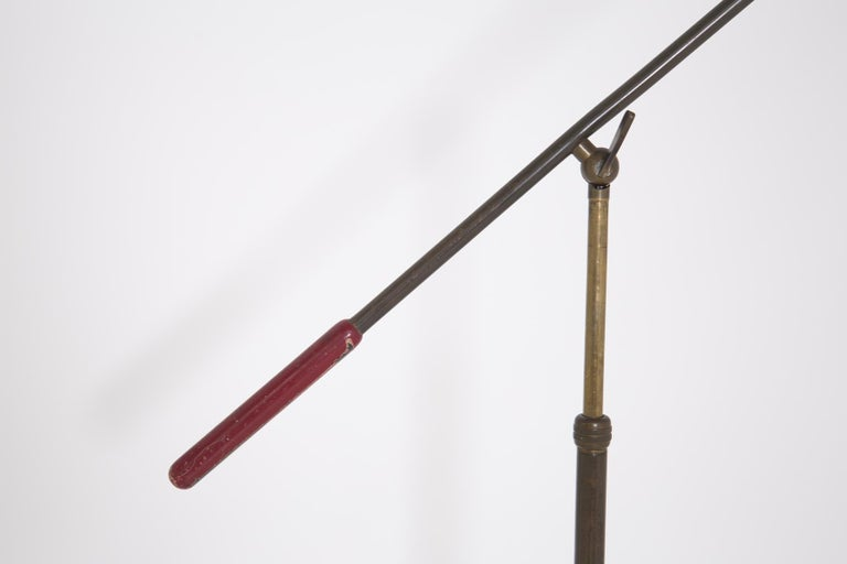 Italian Floor Lamp by Stilnovo in Brass and Aluminium Red, 1950s In Fair Condition For Sale In Milano, IT