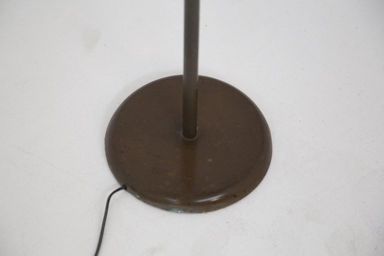 Mid-20th Century Italian Floor Lamp Stilnovo Style in Brass and Aluminium Red, 1950s For Sale