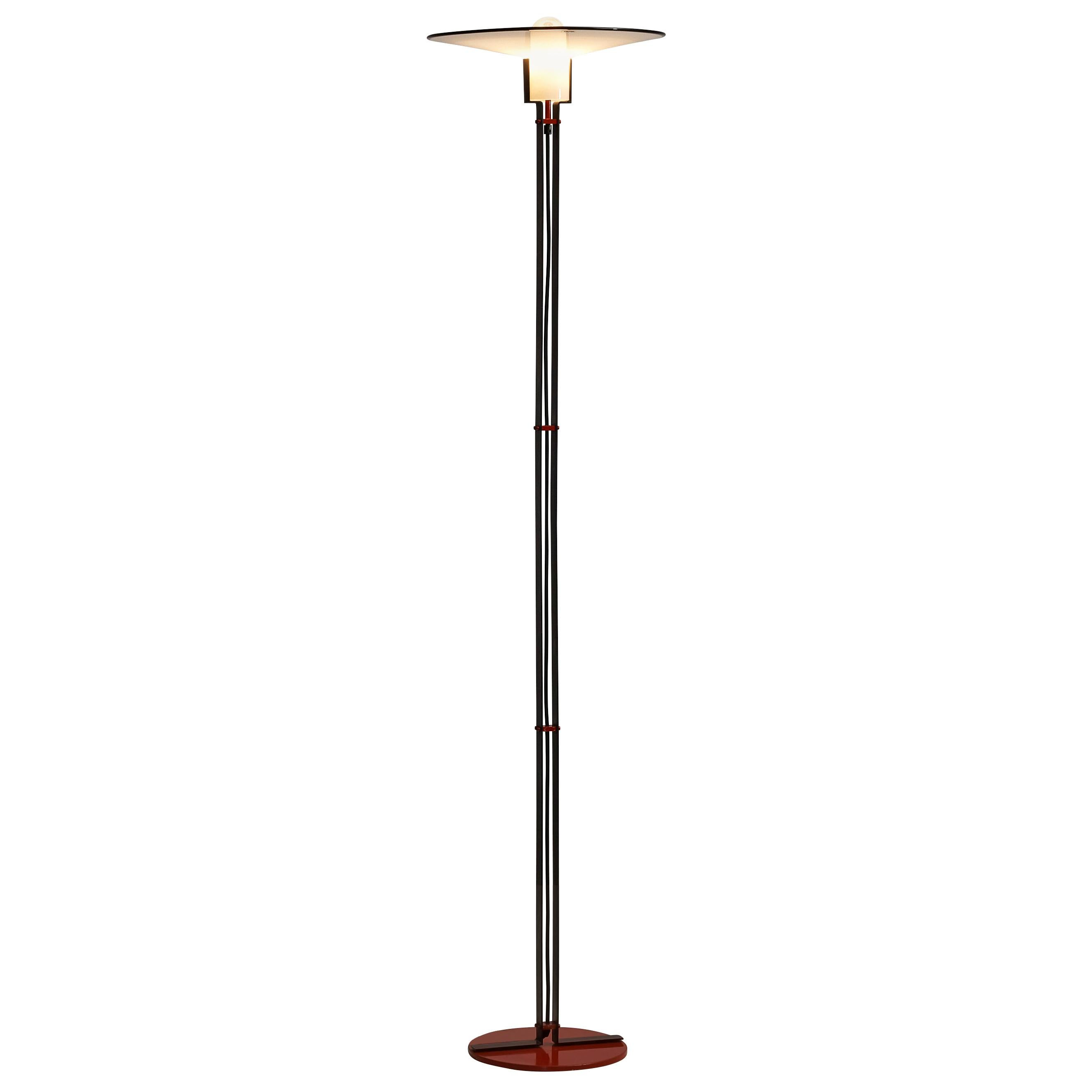 Italian Floor Lamp by VeArt in Black and Red Metal