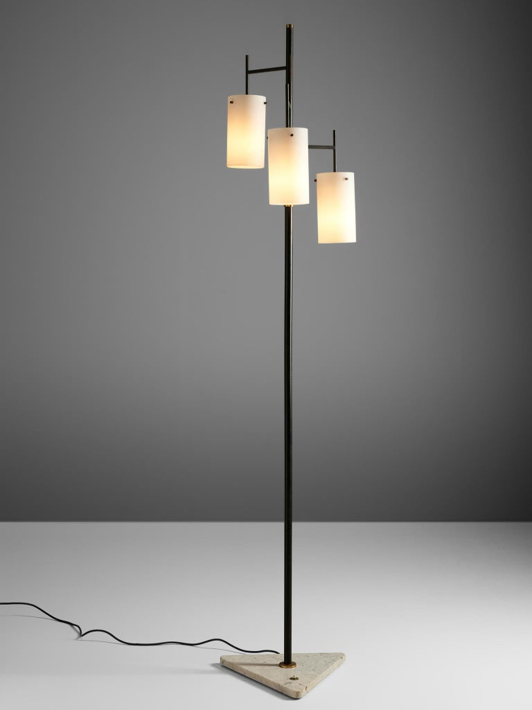 Floor lamp, glass, metal, brass, marble, Italy, 1970s