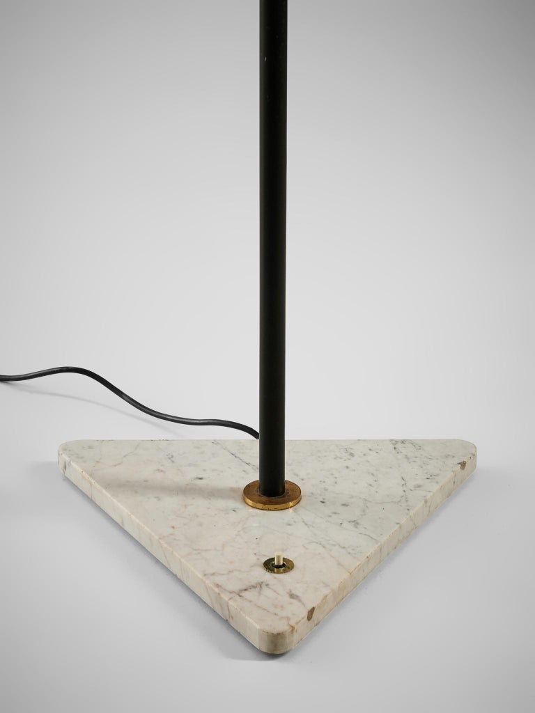Metal Italian Floor Lamp with Marble and Opaline Glass For Sale