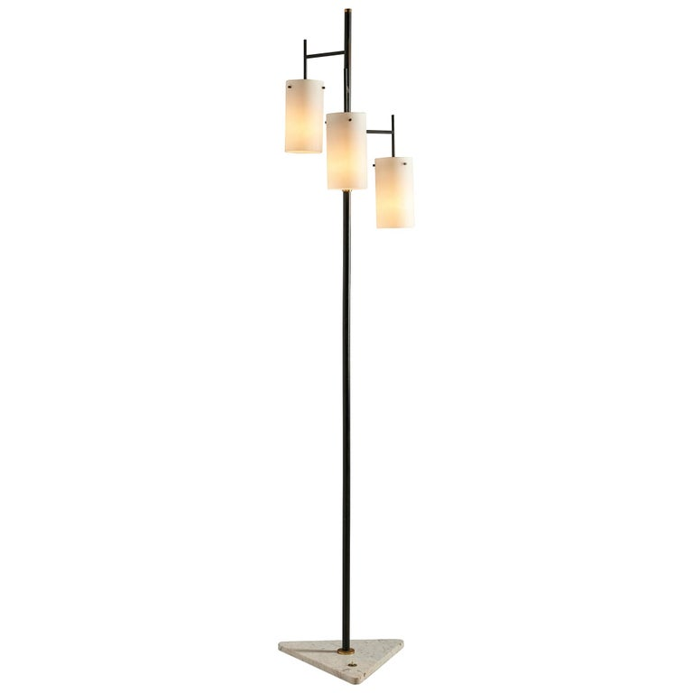 Italian Floor Lamp with Marble and Opaline Glass For Sale