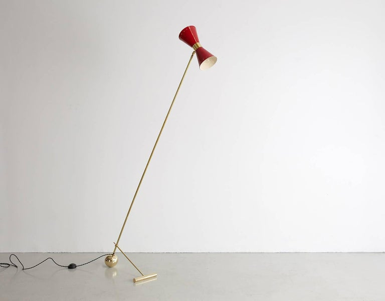 Brass Italian Floor Lamp with Red Metal Shade For Sale