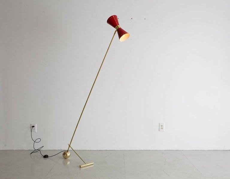 Italian Floor Lamp with Red Metal Shade For Sale 1