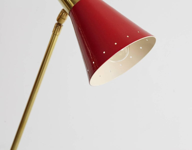 Italian Floor Lamp with Red Metal Shade For Sale 2
