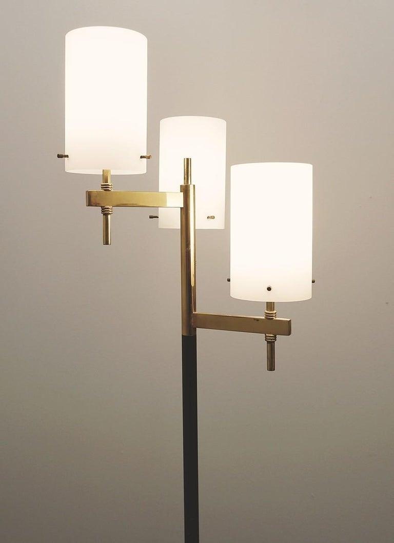 Italianfloor lamp with three Opaline shades from Stilnovo, 1950s.