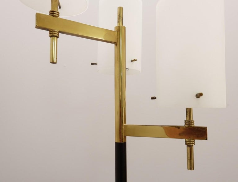 European Italian Floor Lamp with Three Opaline Shades from Stilnovo, 1950s For Sale