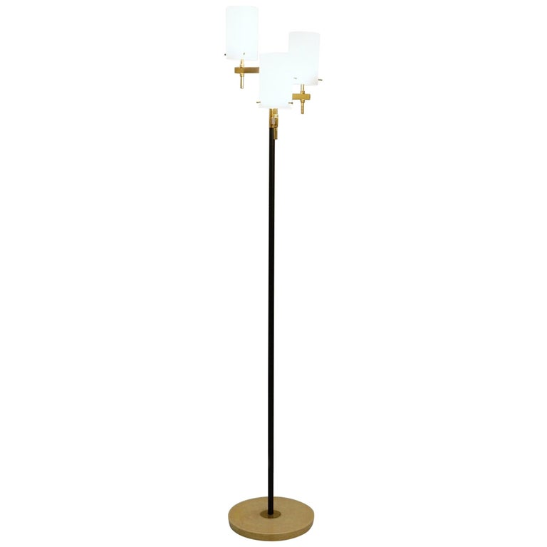 Italian Floor Lamp with Three Opaline Shades from Stilnovo, 1950s For Sale