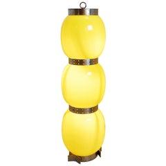 Italian Floor Lamp Yellow Glass Globes, 1970s