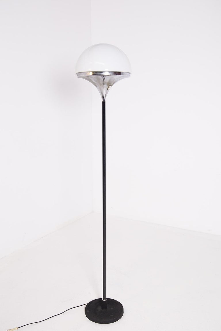 Mid-Century Modern Italian Floor Lamps by Stilnovo Opaline Glass and Iron For Sale