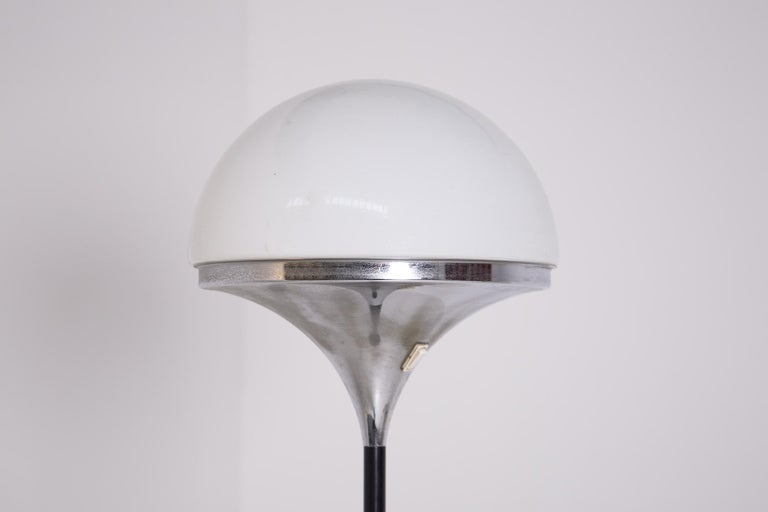 Italian Floor Lamps by Stilnovo Opaline Glass and Iron In Good Condition For Sale In Milano, IT