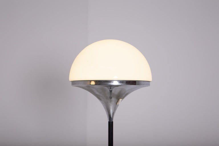 Italian Floor Lamps by Stilnovo Opaline Glass and Iron For Sale 2