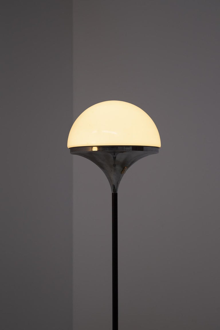 Italian Floor Lamps by Stilnovo Opaline Glass and Iron For Sale 3