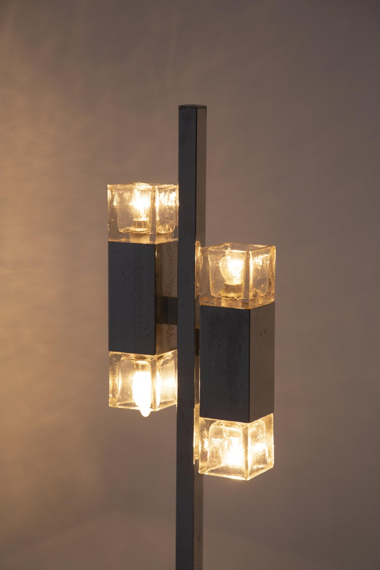 Italian Floor Lamps in Glass and Steel Crome For Sale 6