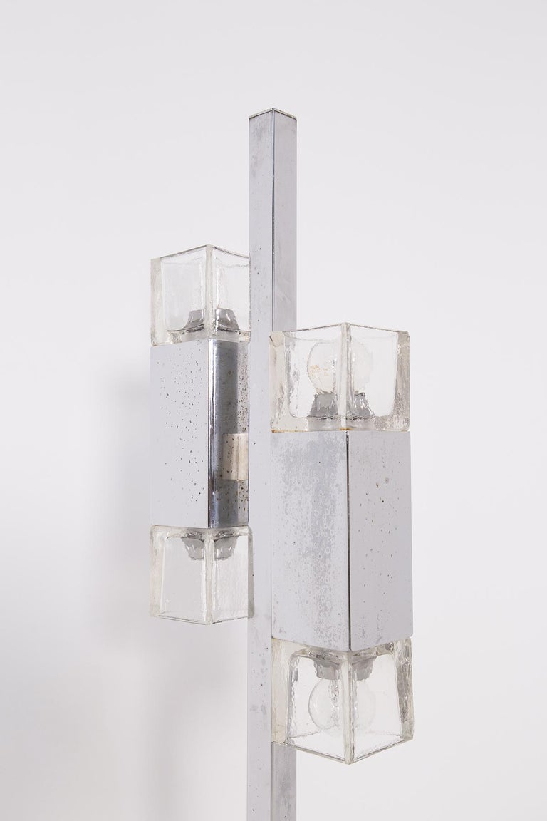 Italian Floor Lamps in Glass and Steel Crome In Good Condition For Sale In Milano, IT