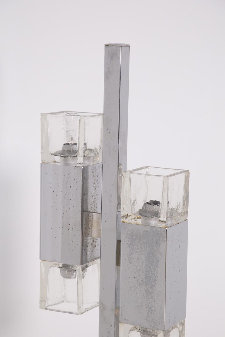 Late 20th Century Italian Floor Lamps in Glass and Steel Crome For Sale