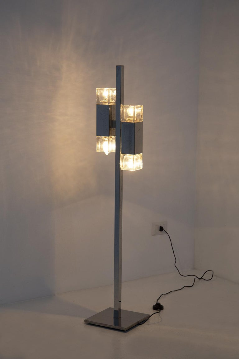 Italian Floor Lamps in Glass and Steel Crome For Sale 1