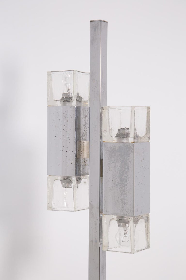 Italian Floor Lamps in Glass and Steel Crome For Sale 2