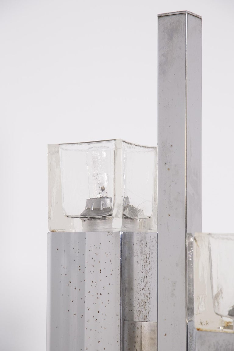 Italian Floor Lamps in Glass and Steel Crome For Sale 4
