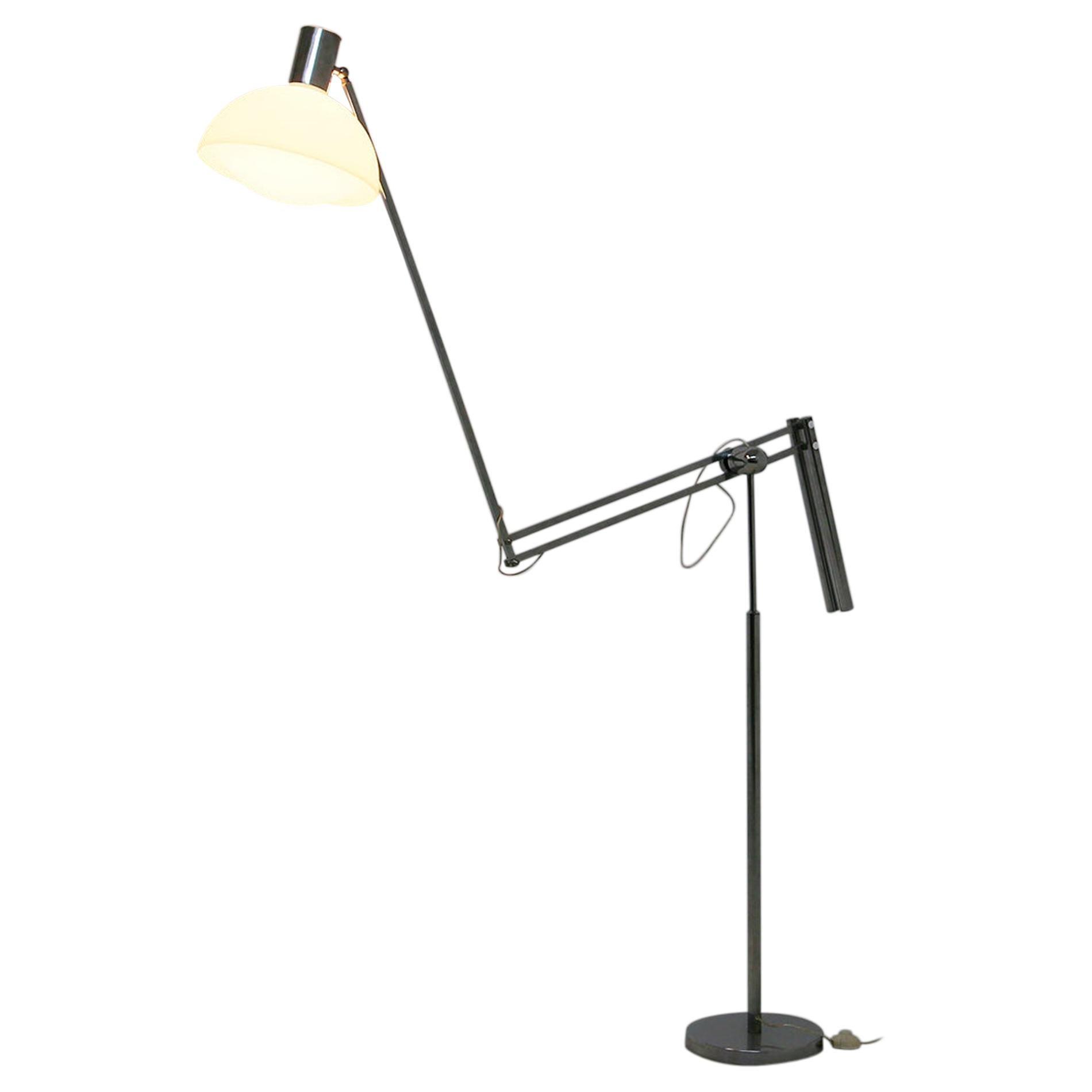Italian Floor Lamps in Plexiglass and Steel, 1960s